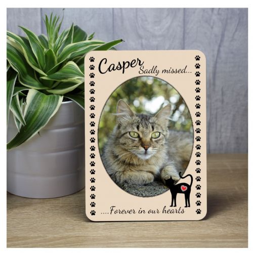 Cat Pet Memorial Bereavement Sadly missed Keepsake Wood Photo Panel Print Gift F29